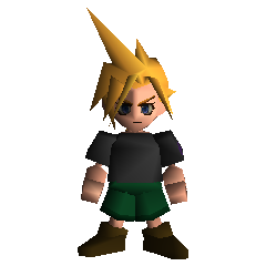 A young Cloud wearing black.