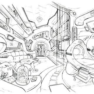 Concept art of Ellone's suite.