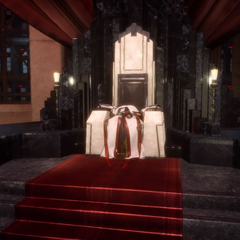 Iedolas's robes left on the throne.