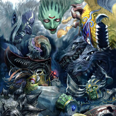 Artwork of Xande along with the other bosses of the Crystal Tower.