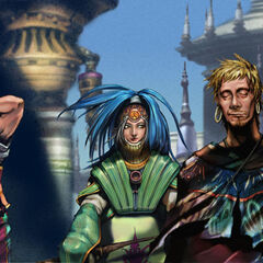 Early concept art for <i>Final Fantasy X</i> with a character that looks like Tidus.