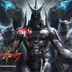 Promotional artwork featuring Bahamut, Ifrit, Gilgamesh, and Shiva.