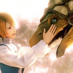 Refia and a chocobo from the opening FMV.