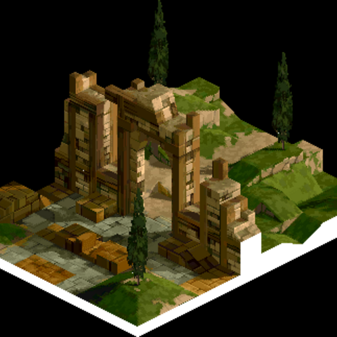 The ruins outside Zaland, where Ovelia and Agrias talk things over.