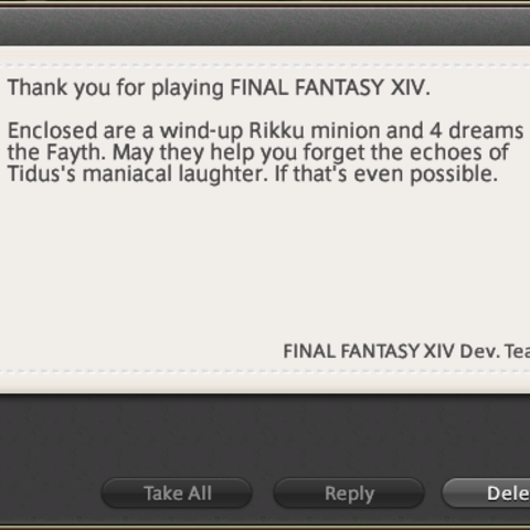 Letter in <i>Final Fantasy XIV</i> mentions the laugh.