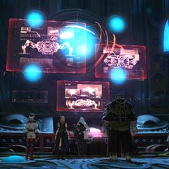 Dentro da sala de controle do Omega.