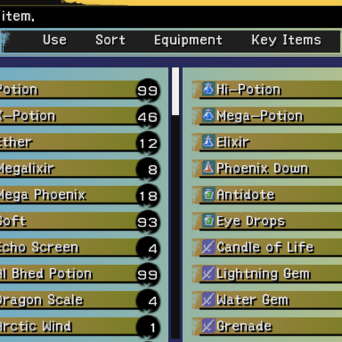 The Item menu (PS2).