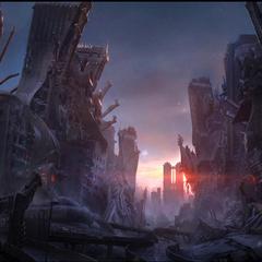 Arte conceitual das ruínas de Insomnia.
