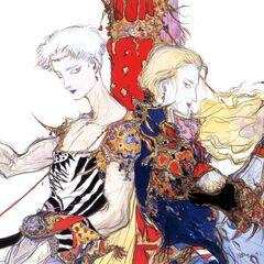 Bartz and Faris concept art by Yoshitaka Amano.