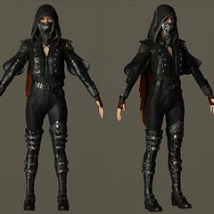 Модель персонажа в капюшоне и маске.