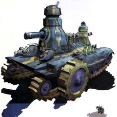 Art depicting a dwarf with a tank.