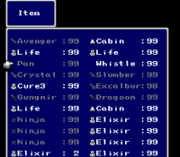 FFIV SNES Item Menu