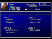 FFVII Limit Menu