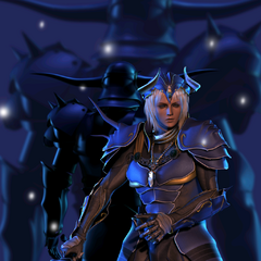CG artwork of Garland standing behind the Warrior of Light.