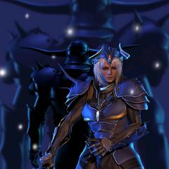 Arte em CG de Garland atrás do Guerreiro da Luz.