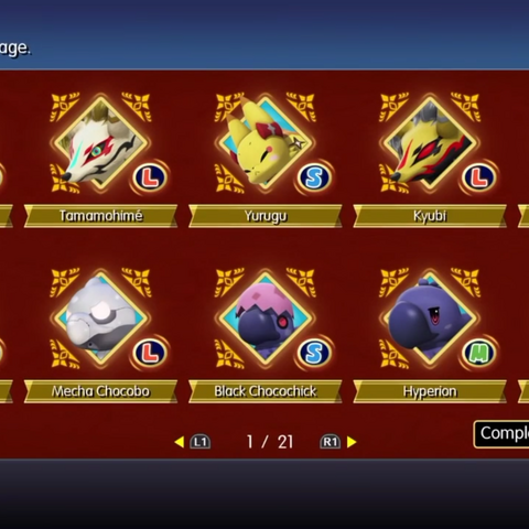 Menu from the core version of <i>World of Final Fantasy</i>.