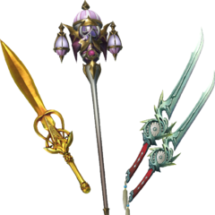 Onion Knight's Golden Sword, Omnirod, and Kiku-Ichimonji.