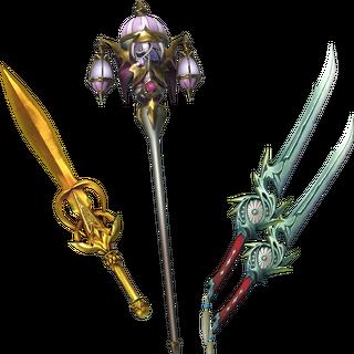 Golden Sword, Omnirod, & Kiku-ichimonji.