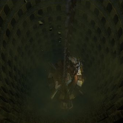 Pit below the prison cage.
