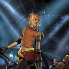 Pôster promocional que apresenta Rikku ao lado de Cid e Brother na <i>Fahrenheit</i>.