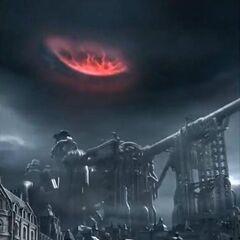 Мидгар во время падения Метеора в <i>Dirge of Cerberus</i>.
