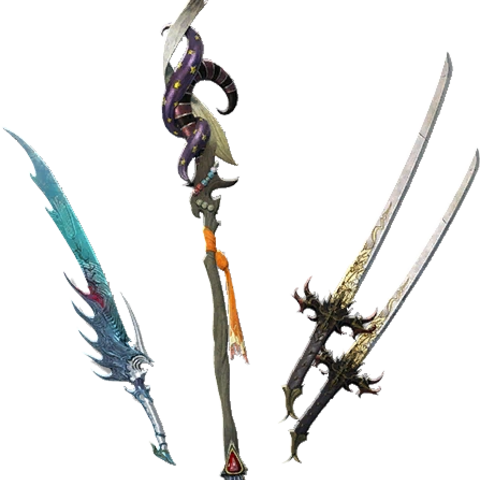 Serpent Sword, Ashura, & Golem Staff.