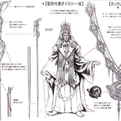 Concept art of Dysley's staff and necklace.
