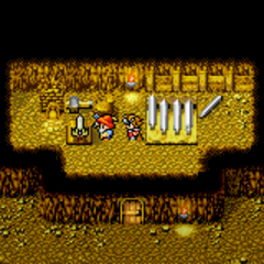 Excalibur sendo forjada em <i>Final Fantasy</i> (GBA)
