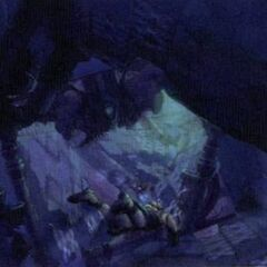 Artwork of Tidus swimming through the ruins.