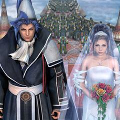 Yuna e Seymour se casando em Bevelle.
