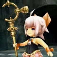 Sherlotta holding the Crystal Staff.