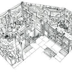 Концепт-арт оружейного магазина на рынке у Стены.