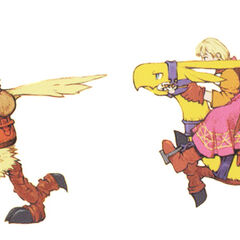 Artwork of Ramza and Alma riding chocobos.