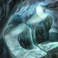The top of the Ice Cavern's waterfall.
