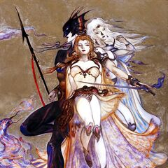 Cecil, Kain, and Rosa faceplate artwork by Yoshitaka Amano for <i>Final Fantasy IV</i> (GBA).