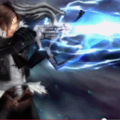 Squall charges his gunblade.