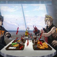 Ноктис с друзьями в ресторане.