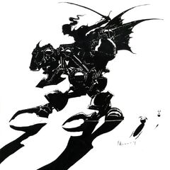 Yoshitaka Amano concept art of the Magitek Armor for the main logo of <i>Final Fantasy VI</i>.