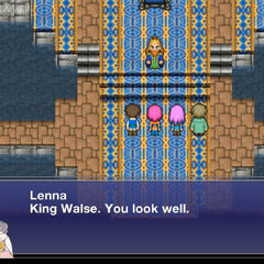 Lenna speaking to King Walse.