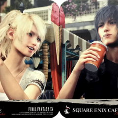 Square Enix Cafe promotional coasters.