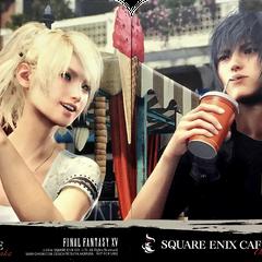 Дизайн рекламных бирдекелей в Square Enix Cafe.