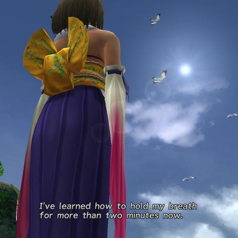 Yuna thinking of Tidus.
