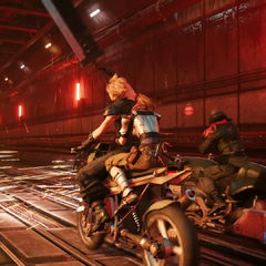 Cloud and Jessie on a motorcycle.