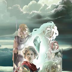 Arte conceitual de Kain como o homem encapuzado com Rosa, Cecil, Ceodore, e um Maenad.