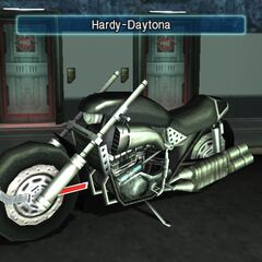 The Hardy-Daytona on display in <i>Crisis Core</i>.