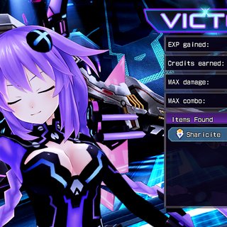 Purple Heart performs Cloud's victory pose.