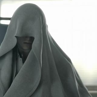 Rufus coberto por um manto branco em <i>Advent Children</i>.