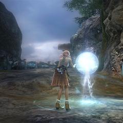 Vanille examines a weather sphere.