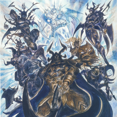 Gilgamesh (top left) alongside the rest of the Sworn Eight. Artwork by Yoshitaka Amano.