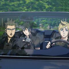 O grupo dirigindo.